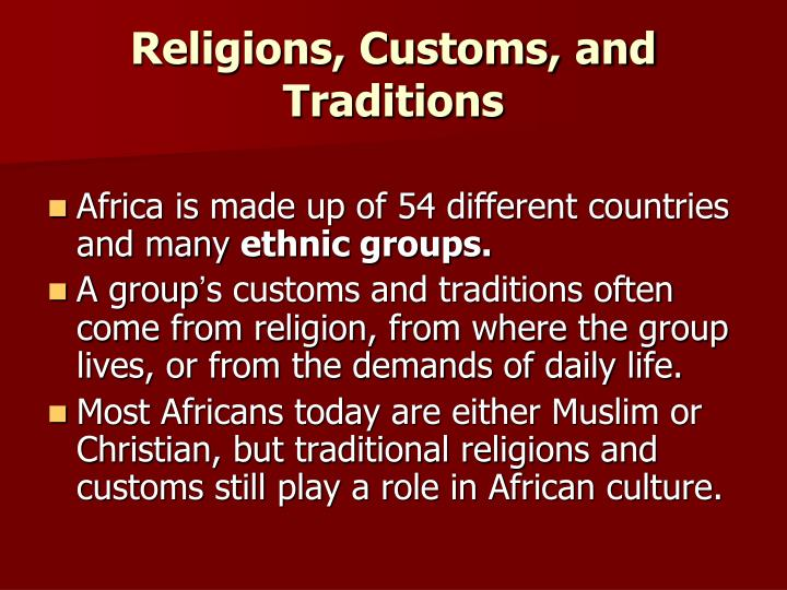 Religions customs and traditions
