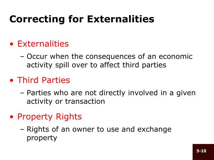 Correcting for Externalities