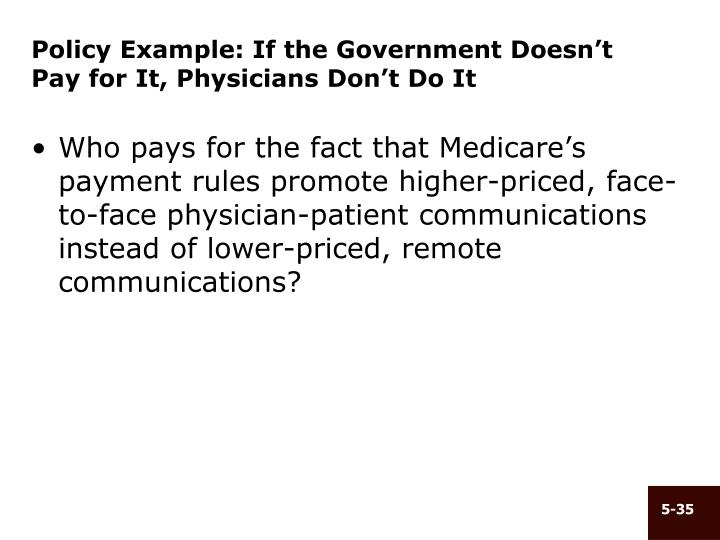 Policy Example: If the Government Doesn't Pay for It, Physicians Don't Do It