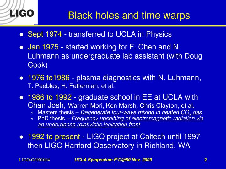 Black holes and time warps