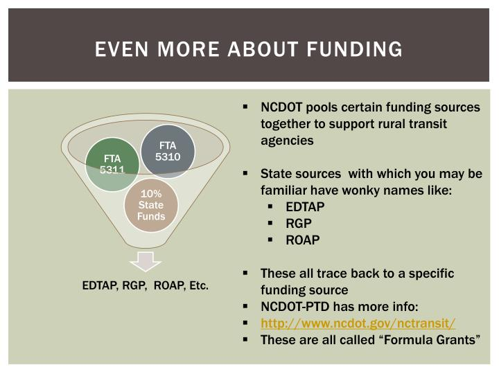 Even more about funding