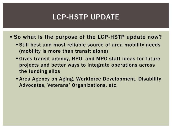 LCP-HSTP Update