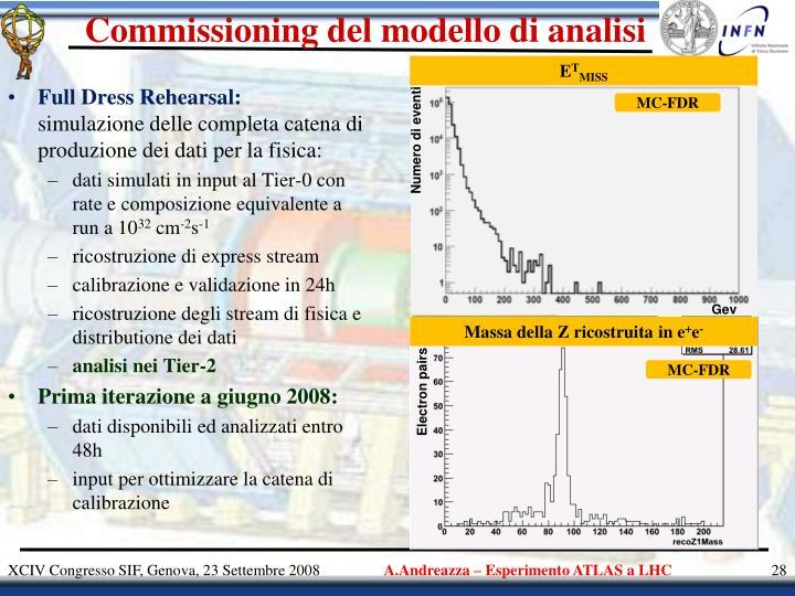 Commissioning del modello di analisi