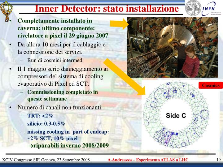 Inner Detector: stato installazione