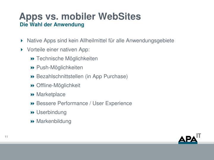 Apps vs. mobiler