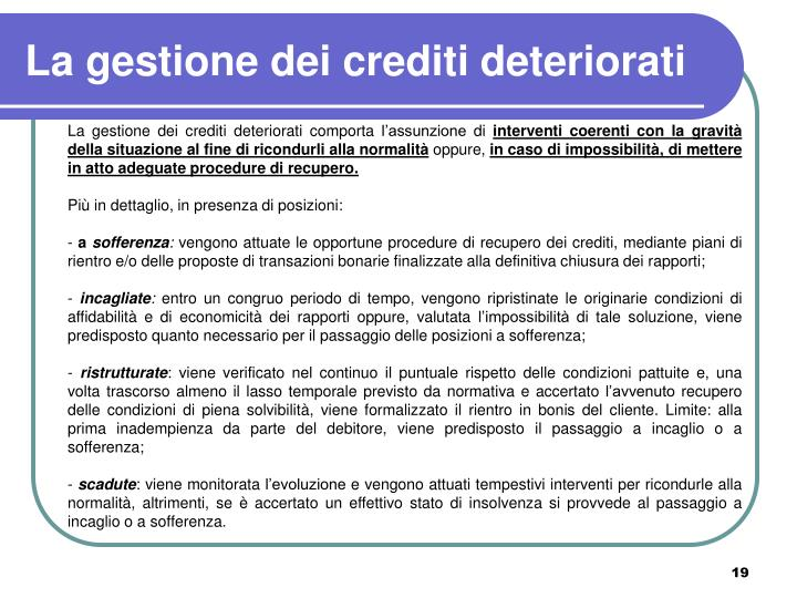 La gestione dei crediti deteriorati