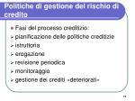 politiche di gestione del rischio di credito
