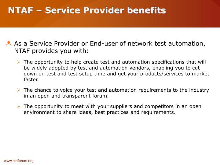 NTAF – Service Provider benefits