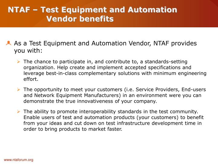 NTAF – Test Equipment and Automation