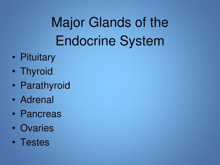 Major Glands of the