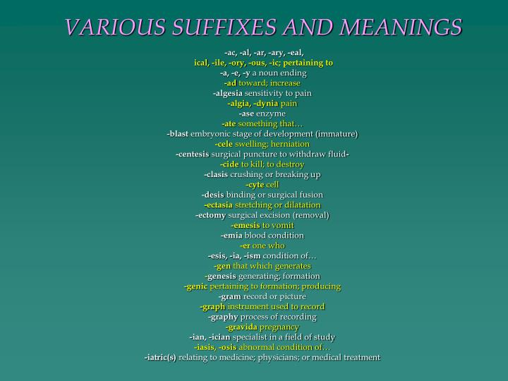 VARIOUS SUFFIXES AND MEANINGS