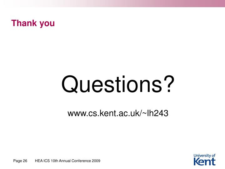 HEA ICS 10th Annual Conference 2009