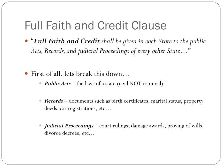 wiki full faith credit clause