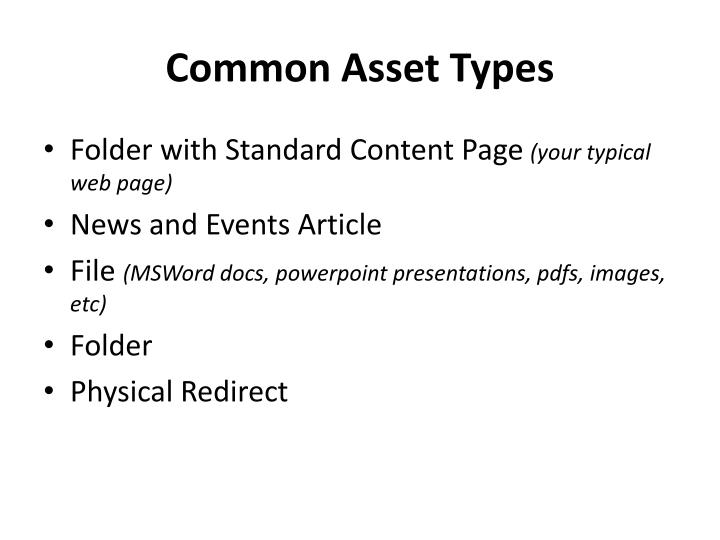 Common Asset Types