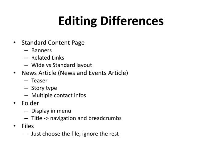 Editing Differences