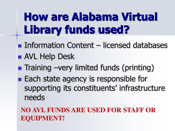 How are Alabama Virtual Library funds used?
