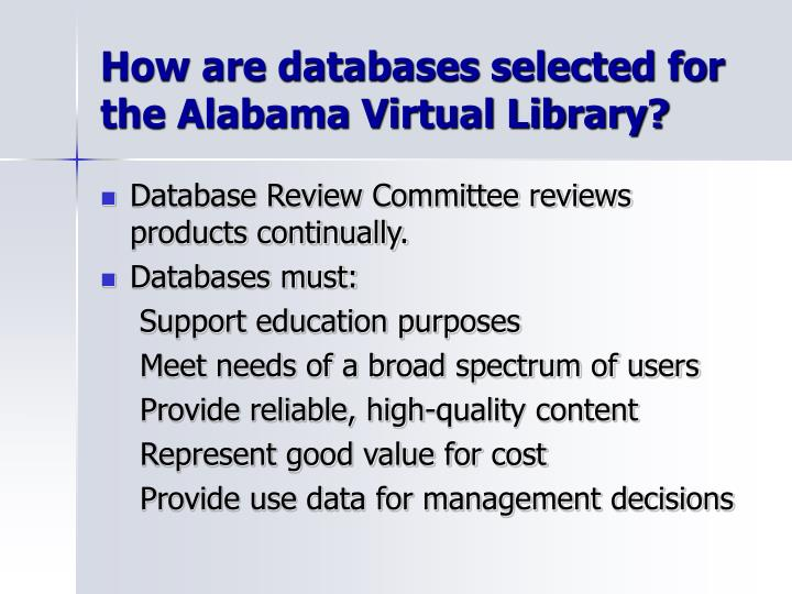 How are databases selected for the Alabama Virtual Library?