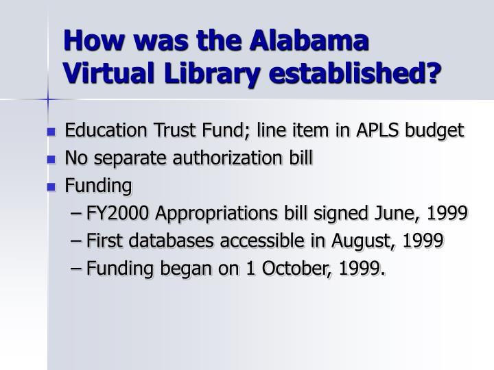 How was the Alabama Virtual Library established?