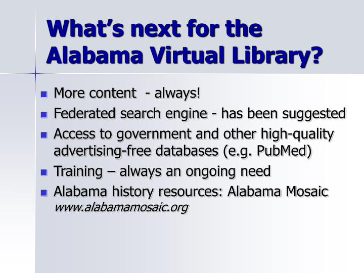 What's next for the Alabama Virtual Library?