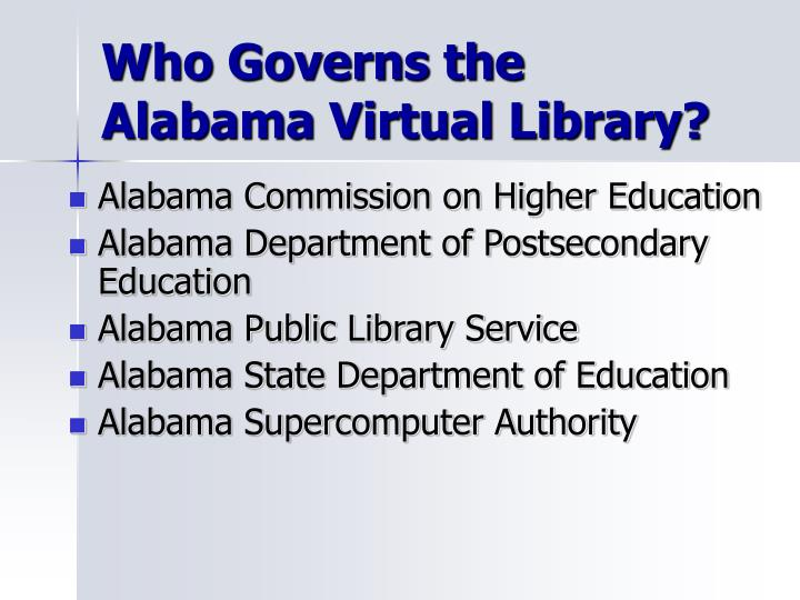 Who Governs the Alabama Virtual Library?