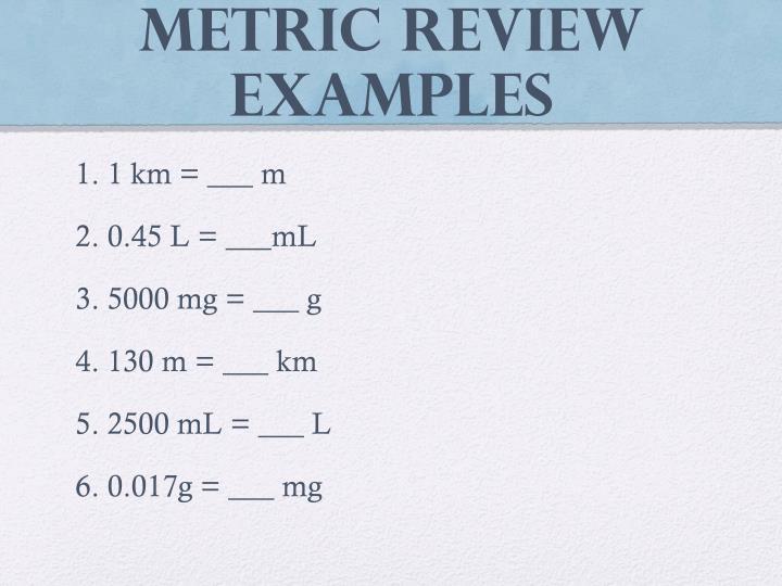 Metric Review