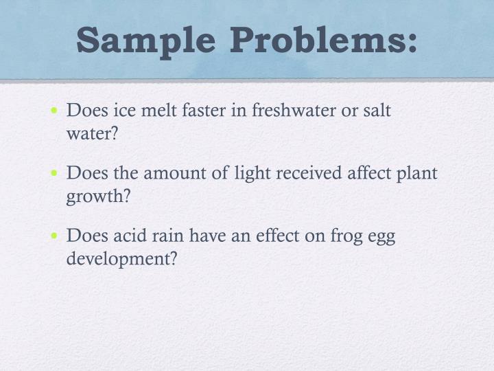 Sample Problems: