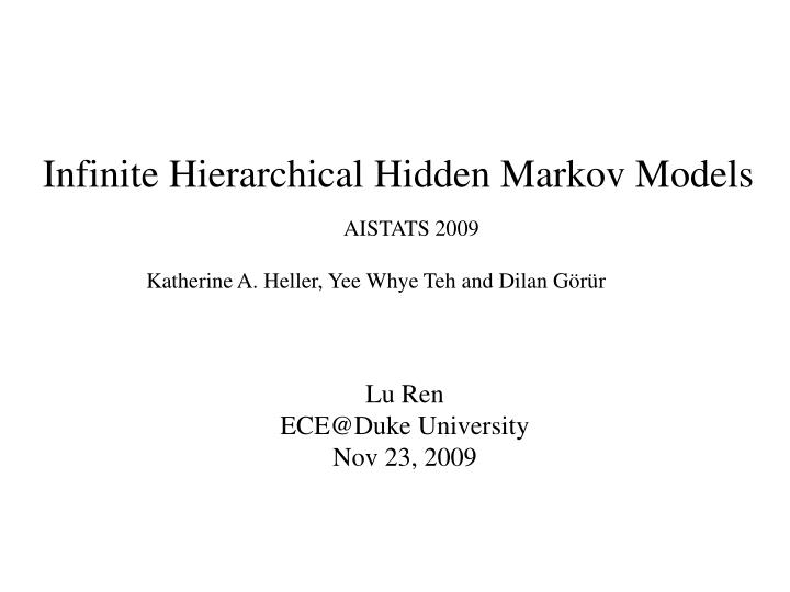 Infinite Hierarchical Hidden Markov Models