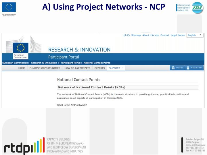 A) Using Project Networks - NCP