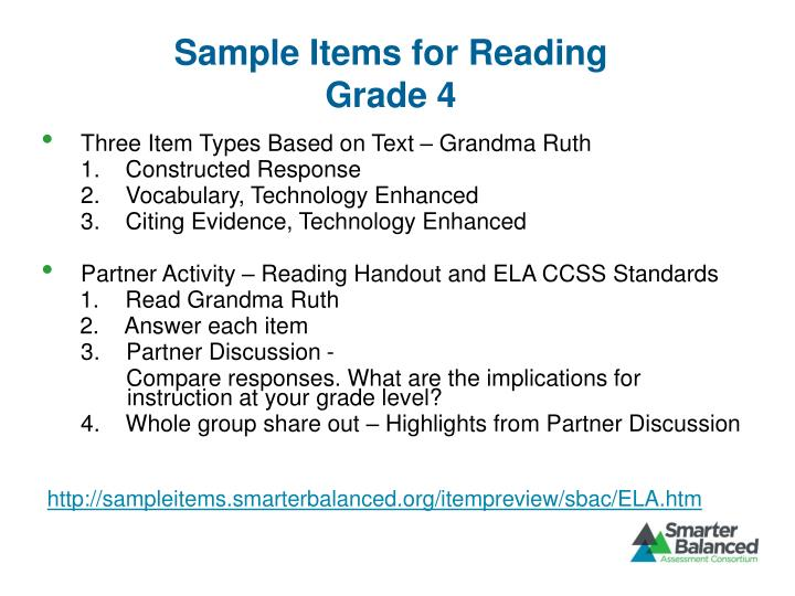 Sample Items for Reading