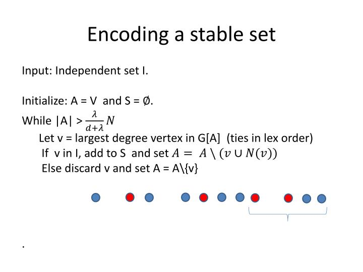 Encoding a stable set
