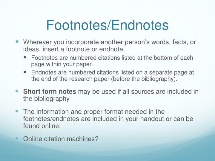 Footnotes/Endnotes