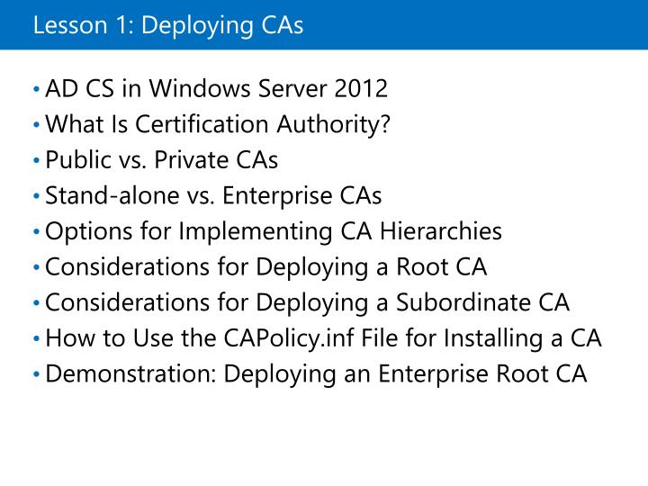 Lesson 1: Deploying CAs