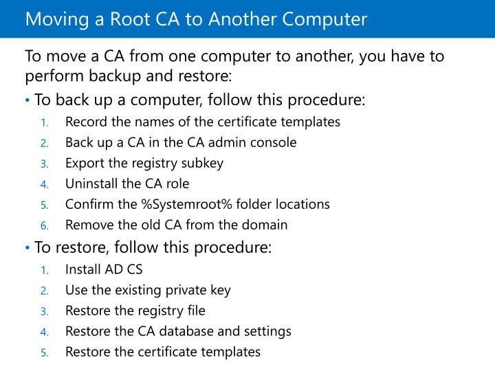 Moving a Root CA to Another Computer