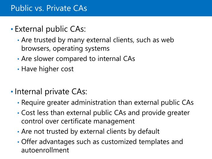 Public vs. Private CAs