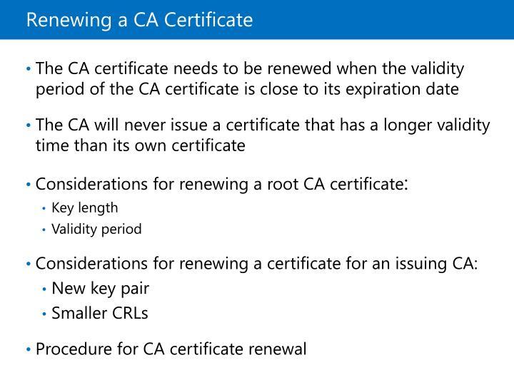 Renewing a CA Certificate