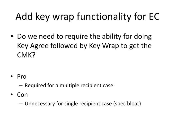 Add key wrap functionality for EC