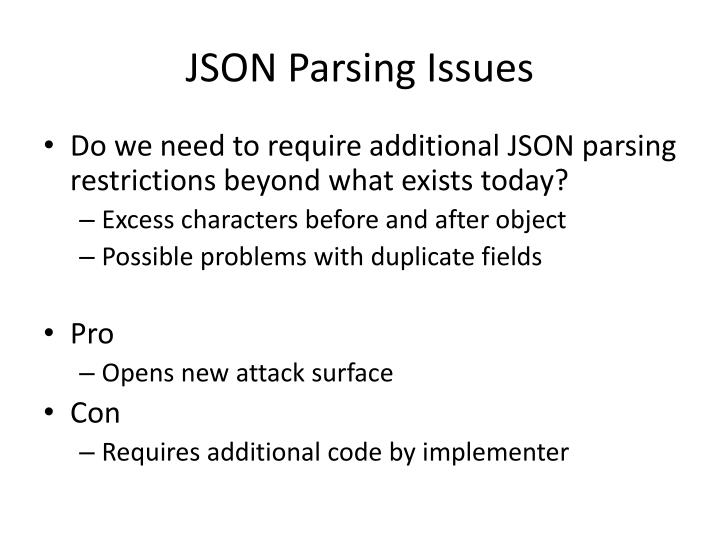 JSON Parsing Issues