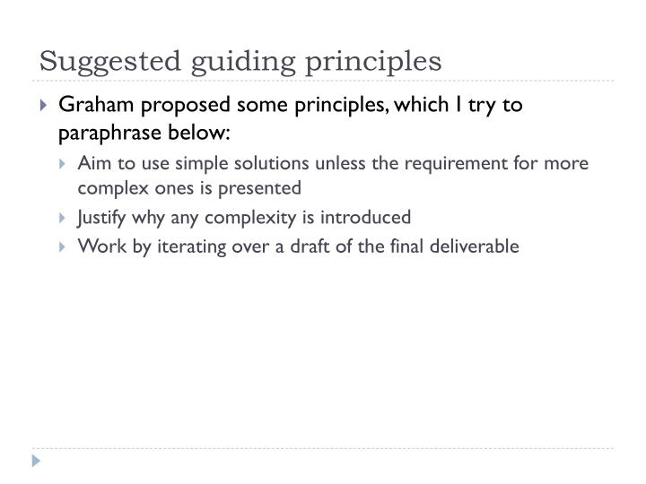 Suggested guiding principles