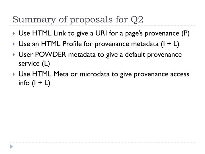 Summary of proposals for Q2