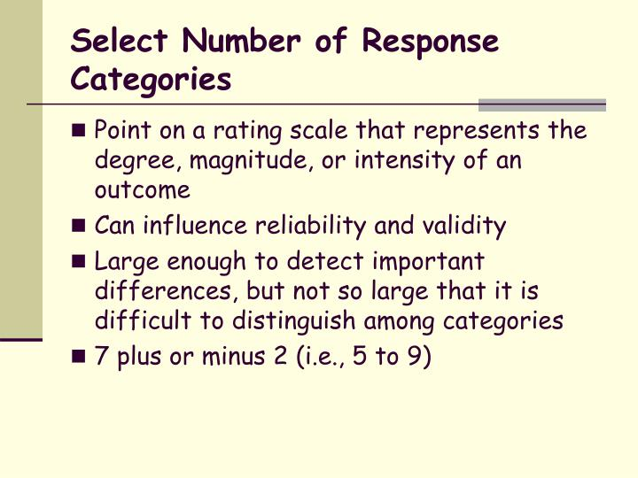 Select Number of Response Categories
