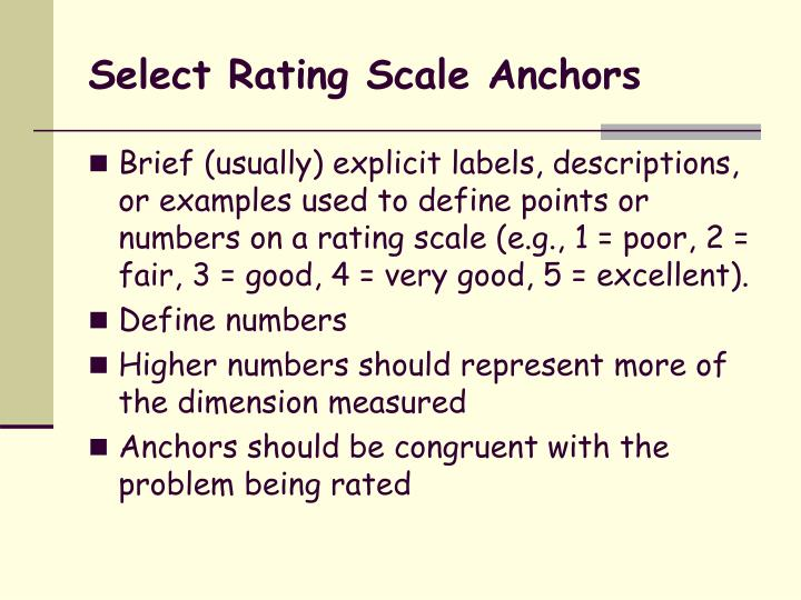 Select Rating Scale Anchors