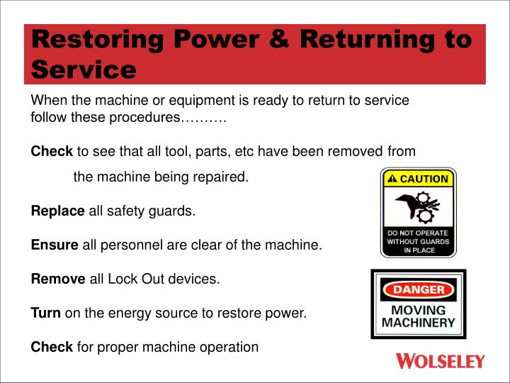 Restoring Power & Returning to Service