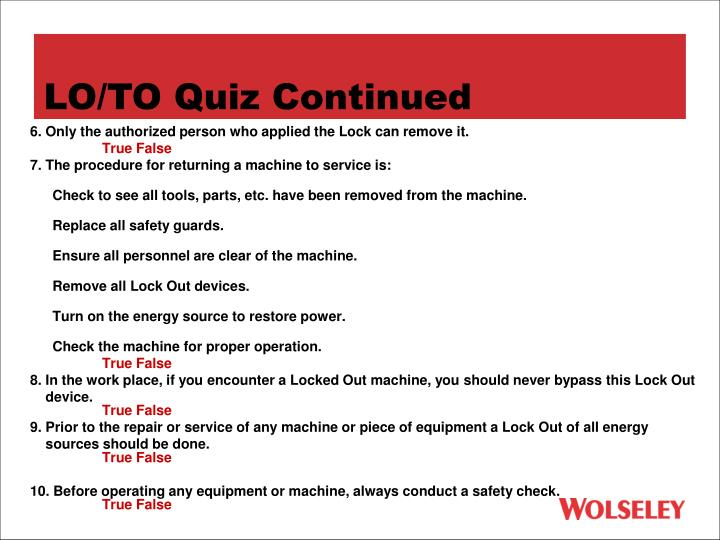 LO/TO Quiz Continued