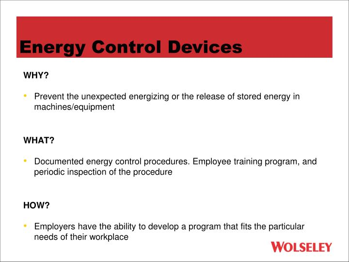 Energy Control Devices