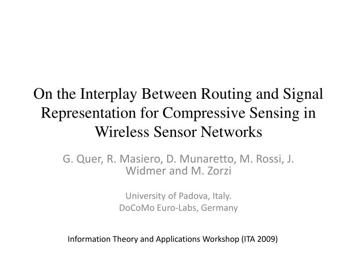 On the Interplay Between Routing and Signal