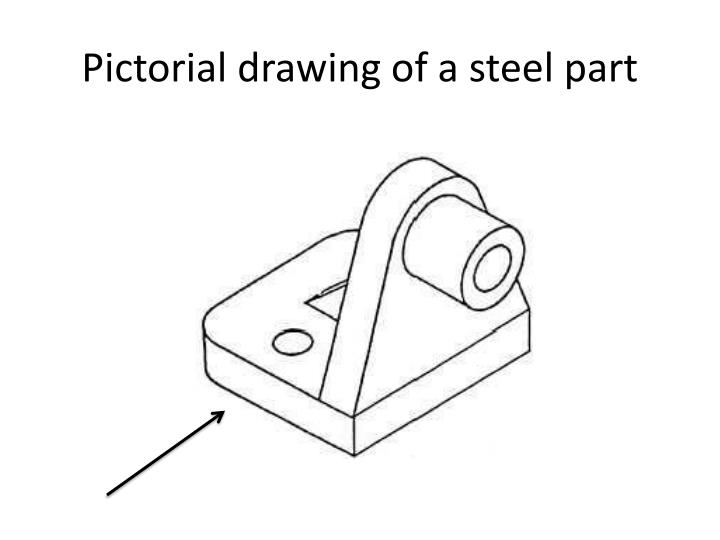 Pictorial drawing of a steel part