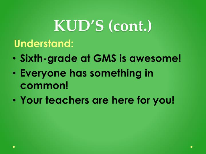KUD'S (cont.)