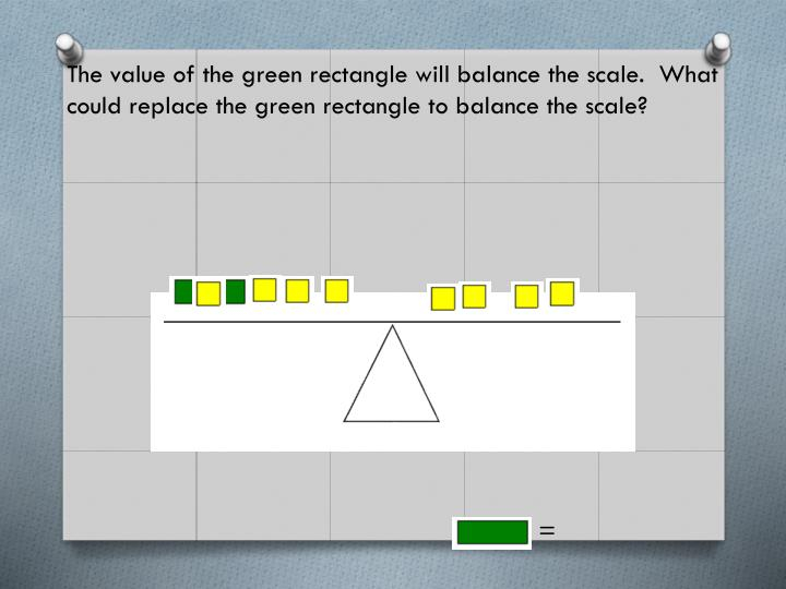 The value of the green rectangle will balance the scale.  What could replace the green rectangle to balance the scale?