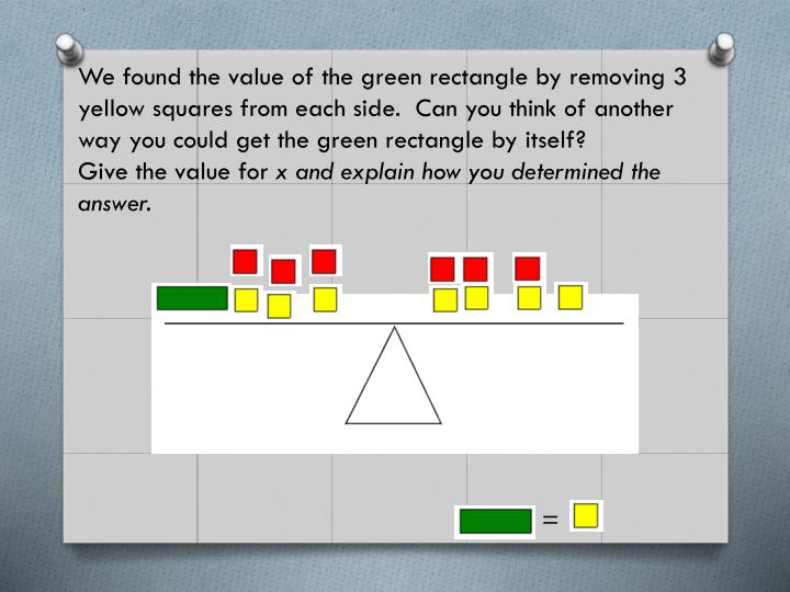 We found the value of the green rectangle by removing 3 yellow squares from each side.  Can you think of another way you could get the green rectangle by itself?