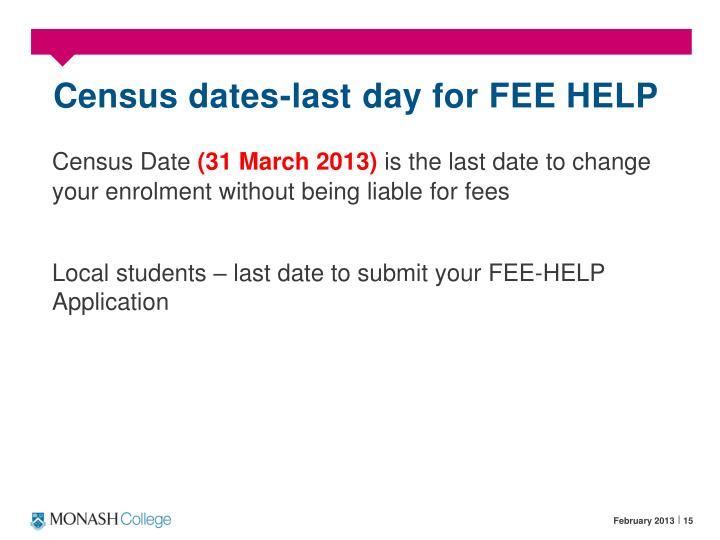 Census dates-last day for FEE HELP